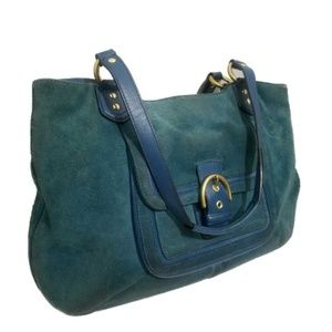 COACH Campbell Suede Belle Carryall Teal Satchel